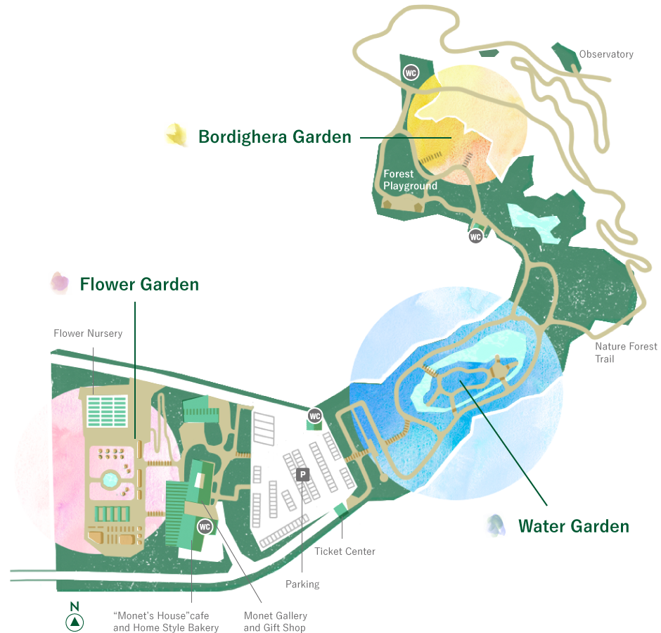 a guide map of Monet's Garden in Kitagawa village