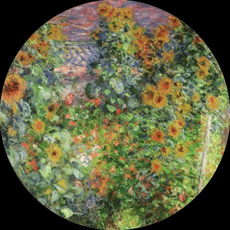 モネの絵画:黄色い花の咲く景色
