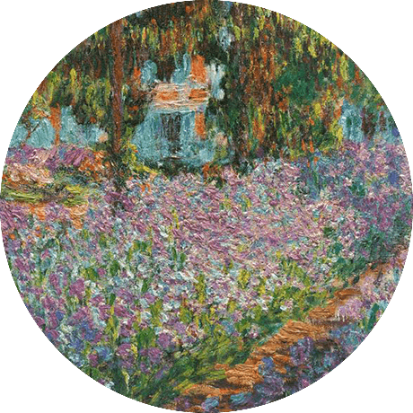 a painting of the flower garden by Monet