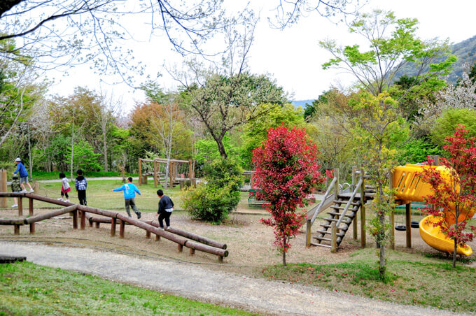 画像:遊びの森の遊具で遊ぶ子どもたち