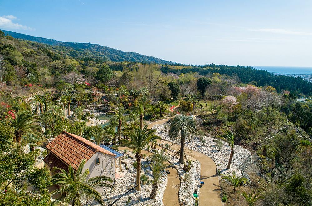 写真:広い庭にヤシの木や地中海の植物が並び、背景には高知の山と海が見える。白い石垣に囲まれた道やレンガ屋根の小屋があり、ボルディゲラの世界を散策できるようになっている。